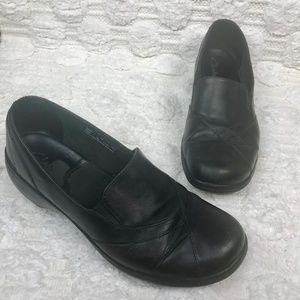 Clarks Black Leather Slip On Comfort Flats